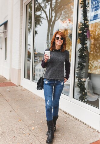 themiddlepage blogger sweater jeans blouse shoes bag grey sweater shoulder bag boots winter outfits