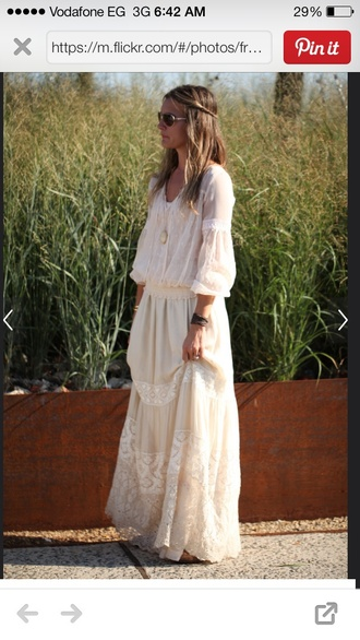 dress boho dress long off white