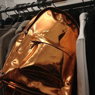 bag metallic shiny edgy swag gorgeous gold bronze shiny bag shiny backpacks dope tumblr cute cool girl summer clothes stylish style trendy blogger fashionista chill rad pretty on point clothing