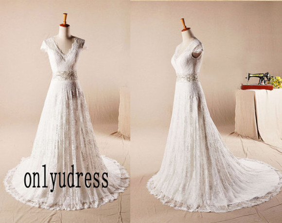 wedding dress bridal gowns bridal gown lace wedding wedding dress with train v-neck wedding v-neck