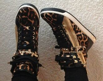 shoes swag leopard print gold black