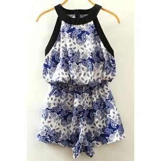 romper blue white summer fashion pattern spring rose wholesale-ap
