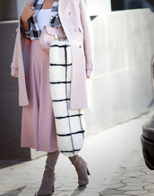 coat,tumblr,pink coat,scarf,fur scarf,checkered,bag,pink bag,skirt,pink skirt,midi skirt,boots,high heels boots,grey boots,tartan,tartan shirt,plaid,plaid shirt,flannel shirt,flannel