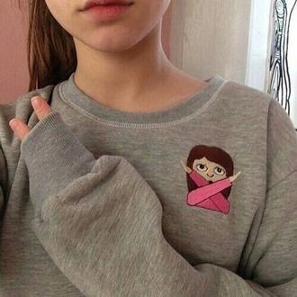 sweater grey grey sweater pink emoji print apple iphone whatsapp emoji iphone emoji girl fabulous brown hair peace girl emoji