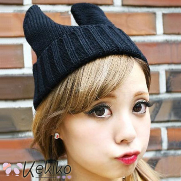 hat beanie bunny bunny ears cute cats cat ears lovely