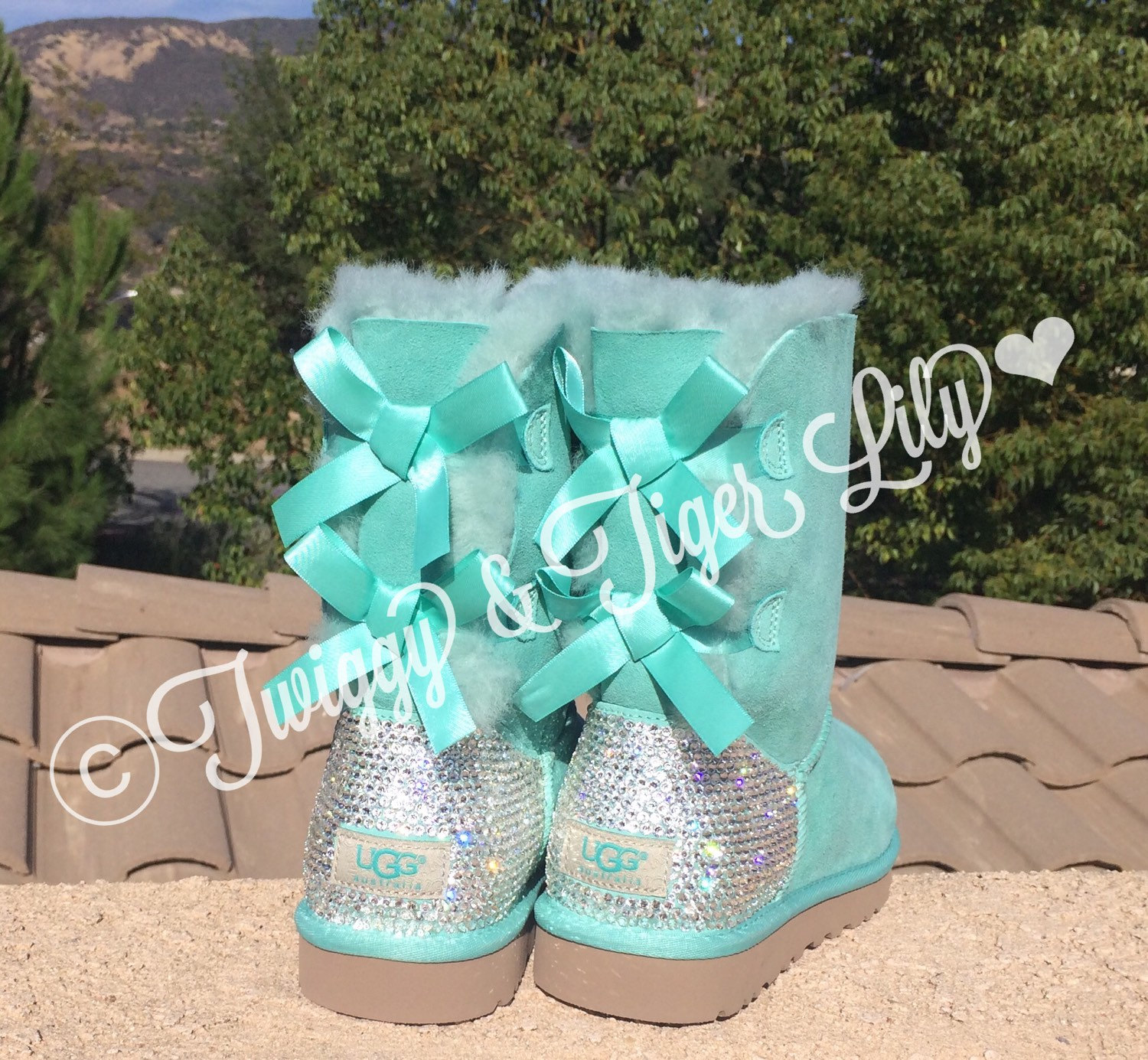 Bling Ugg Bailey Bow Mint Boots crystallized with Swarovski Crystals - Mint Uggs with Bling