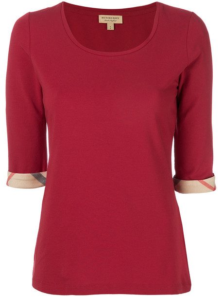 Burberry top women spandex cotton red