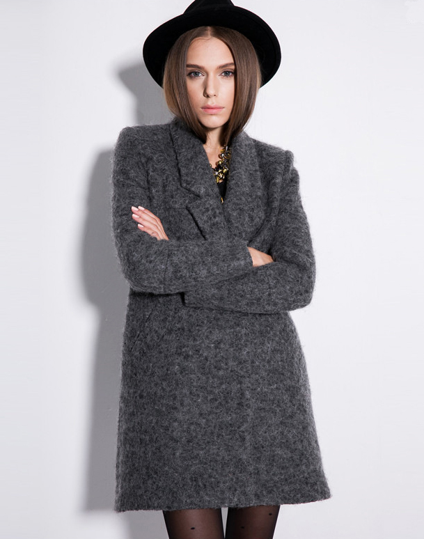 Grey long sleeve double breasted slim coat
