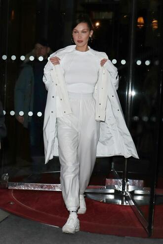 top pants paris fashion week 2018 fashion week coat all white everything bella hadid model off-duty sneakers