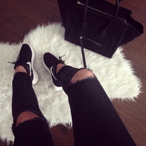 black classy fashion jeans destroyed jeans tendances denim