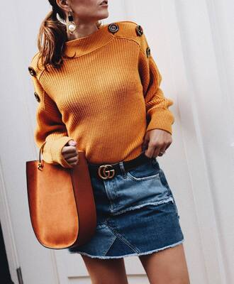 sweater tumblr mustard bag brown bag handbag knit knitwear skirt mini skirt denim denim skirt