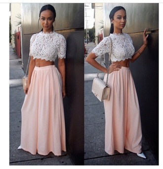 jeans pants pink top fashion style draya michele draya sodraya lace lace top maxi skirt harem pants white heels ponytail chanel chanel bag basketball wives italian african american cute