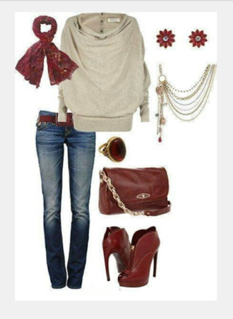 blouse top shirt sweater long sleeve sweater button down back taupe top jeans pants bag purse heels high heels boots ankle boots necklace multi-strand necklace earrings stud earrings scarf red boots clothes oufit