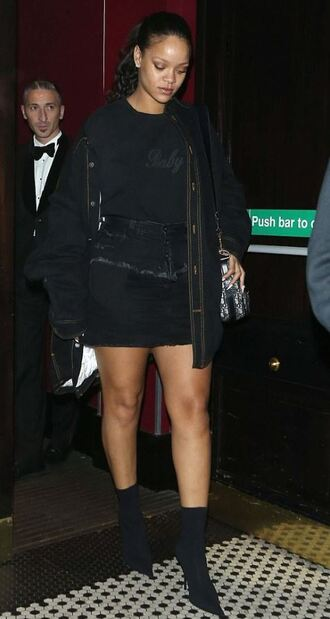 jacket all black everything mini skirt top boots rihanna fall outfits