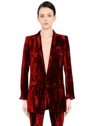 blazer long crushed velvet velvet jacket