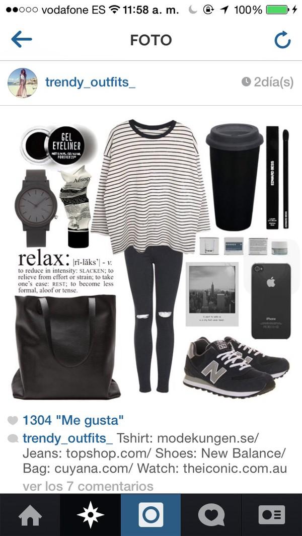 jeans black jeans t-shirt bag