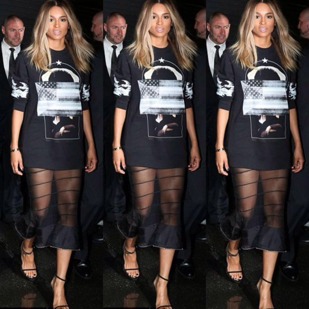 Dress T Shirt Dress Black Sheer Mesh Ciara Black And White