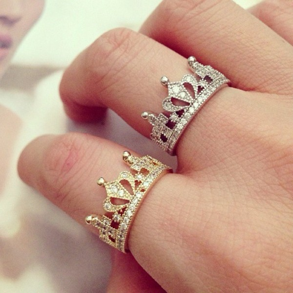 Platinum Plated Crystal Ring Womens Crown Finger Rings White Gold