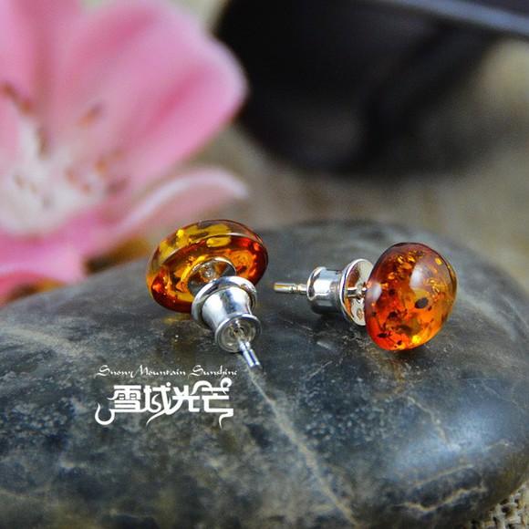 jewels earrings 925 sterling silver handmade amber