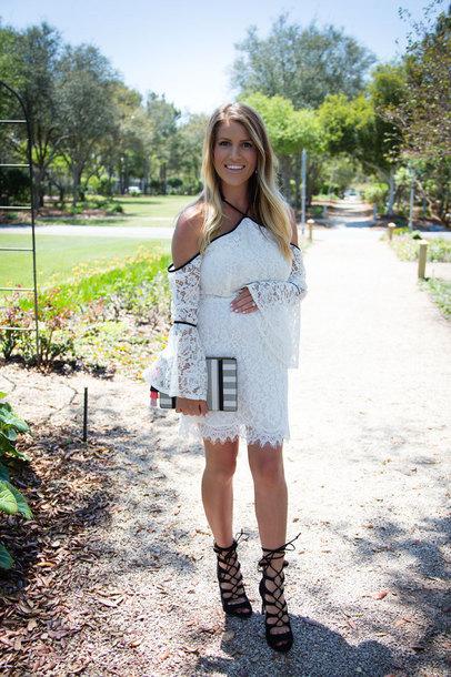 lipstickheels&ababy blogger dress bag shoes jewels make-up clutch white lace dress sandals high heel sandals summer dress spring dress