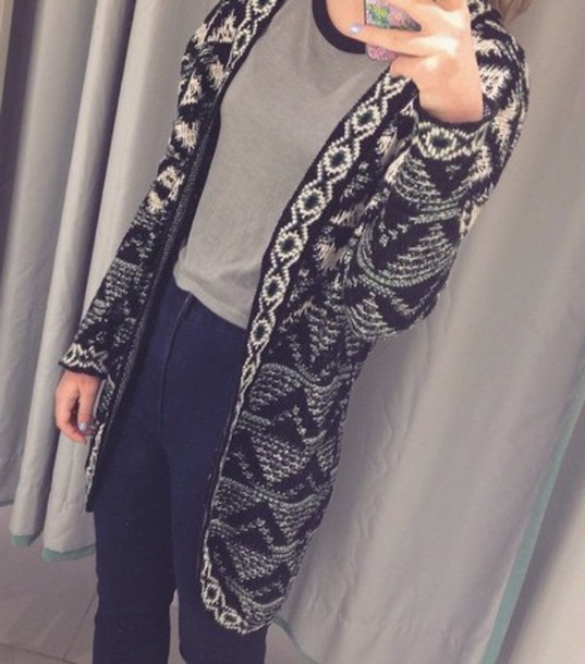 cardigan aztec black and white long