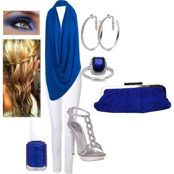 blouse blue shirt blue halter top draped top