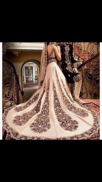 dress, cream, blue, asian, wedding dress - Wheretoget