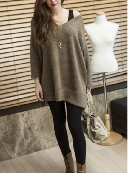 dress leggings boots sweater sweater dress khaki cute cute outfits