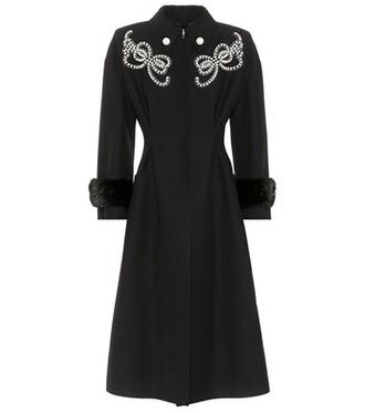 coat embellished silk wool black