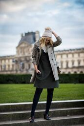hat,tumblr,opaque tights,tights,dress,mini dress,grey dress,coat,grey coat,trench coat,mid heel pumps,shoes,black shoes,gucci,gucci shoes,beanie,pom pom beanie,pilgrim shoes,high heel loafers