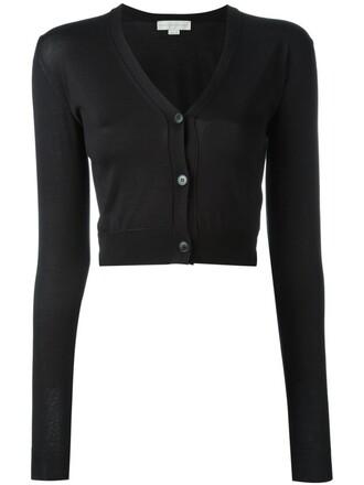cardigan cropped women black silk sweater