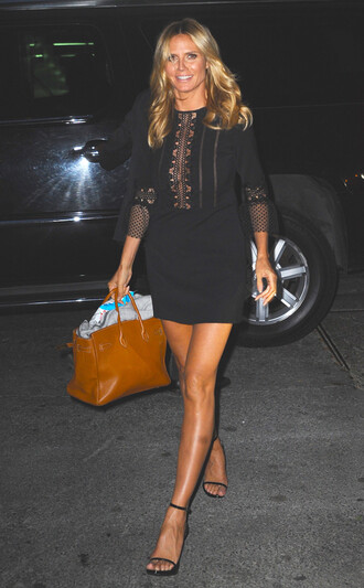 dress mini dress black dress sandals heidi klum three-quarter sleeves shoes little black dress see through see through dress summer dress summer outfits party dress sexy party dresses celebrity celebrity style celebstyle for less cute dres cute dress girly dress date outfit birthday dress romantic dress romantic summer dress