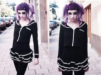 skirt murderotic goth hipster goth gothic lolita gothic high-low dresses dress black dress alternative black sweater