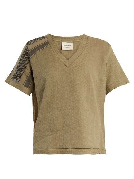 top jacquard cotton khaki
