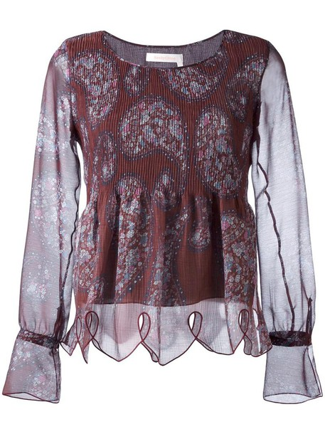 See by Chloe blouse women scalloped cotton print purple pink paisley top