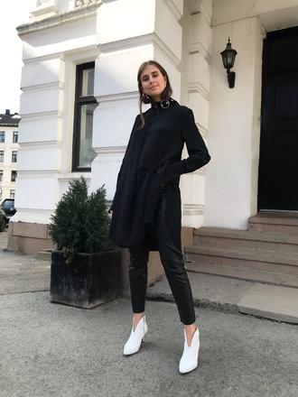 coat black coat black pants pants shoes boots white boots white shoes