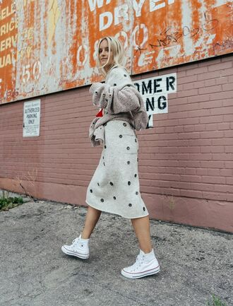 dress tumblr embellished embellished dress eyelet detail eyelet dress midi dress knitwear knitted dress white dress long sleeves midi knit dress white knit dress sneakers high top sneakers white sneakers high top converse converse white converse cardigan