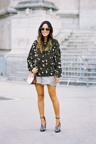 vanessa jackman blogger shoes bag silver heels mini skirt embellished sweater date outfit texture shorts tights