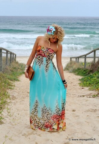 dress torquioise aqua beach aqua blue mint floral maxi dress cute dress summer summer dress summer outfits strapless dress strapless leopard print
