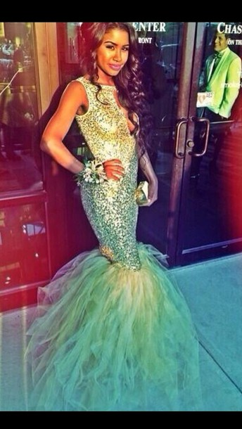 Dress: teal dress, mermaid prom dress, sequin dress, prom dress ...