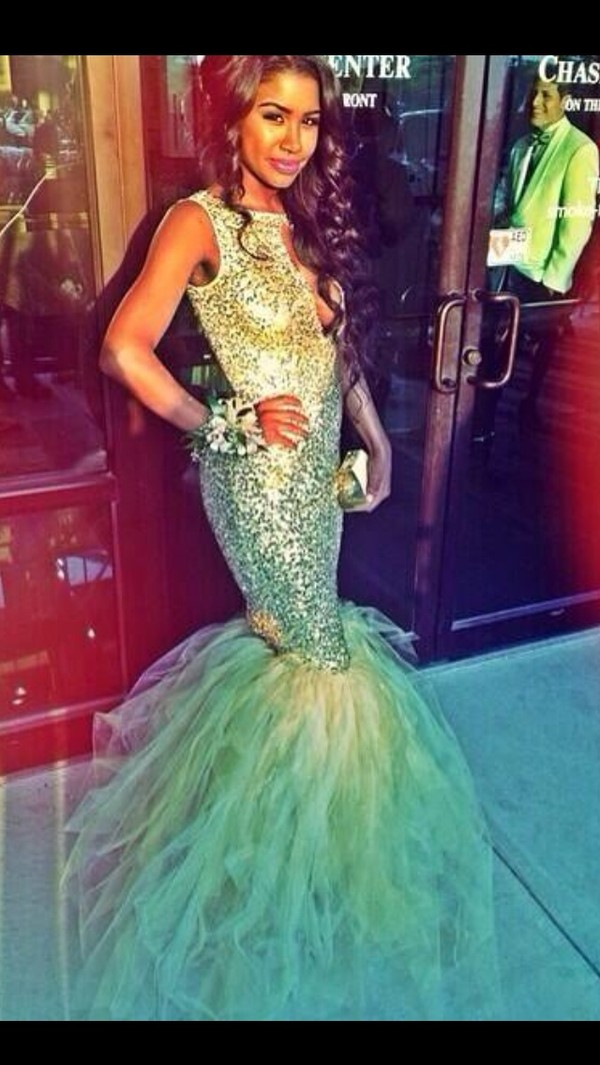 dress, teal dress, mermaid prom dress, sequin dress, prom dress ...