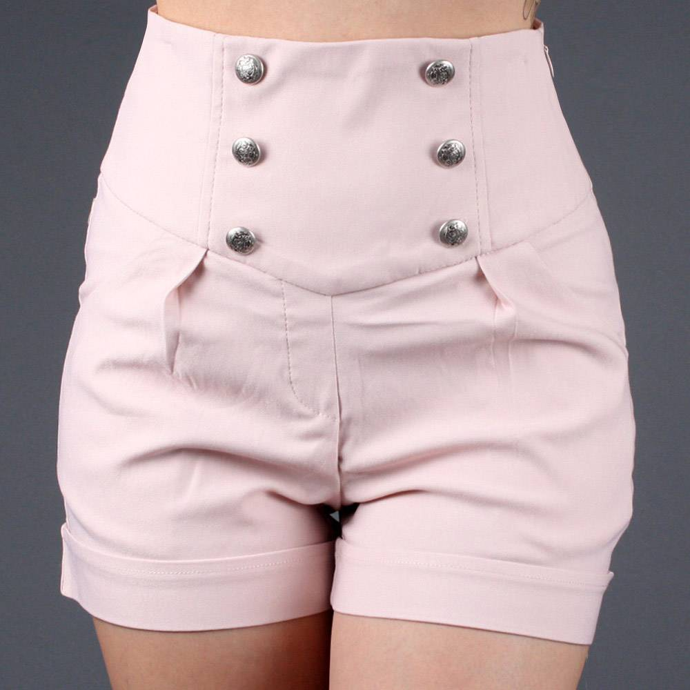 Military Button Cuff High Waisted Dress Shorts | 48398