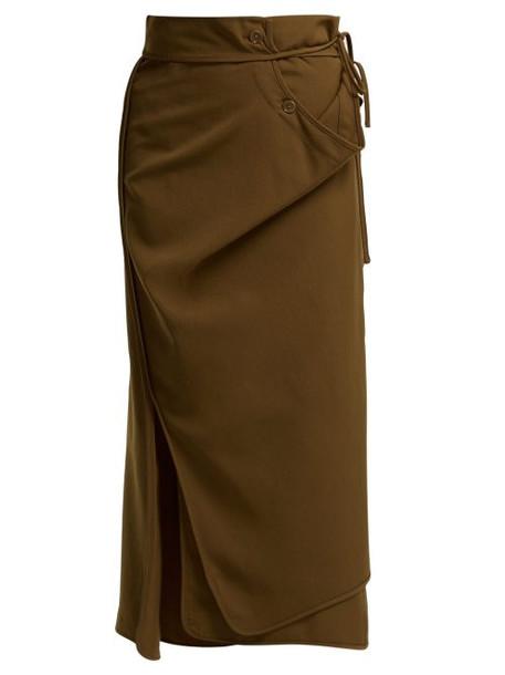 Lemaire - Tie Waist Wrap Wool Skirt - Womens - Brown