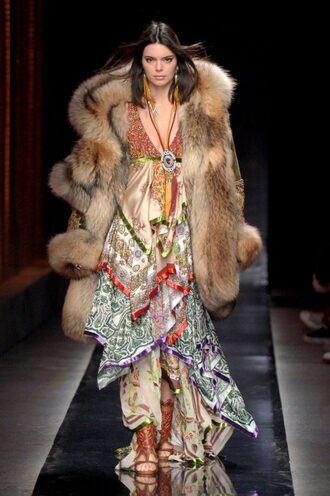 dress maxi dress fur fur coat kendall jenner kardashians runway model fashion week 2018 milan fashion week 2018 boho dress dsquared