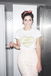 skirt,get bent,marina and the diamonds,t-shirt,hair bow,shirt,heart,soft grunge,pastel,feminist