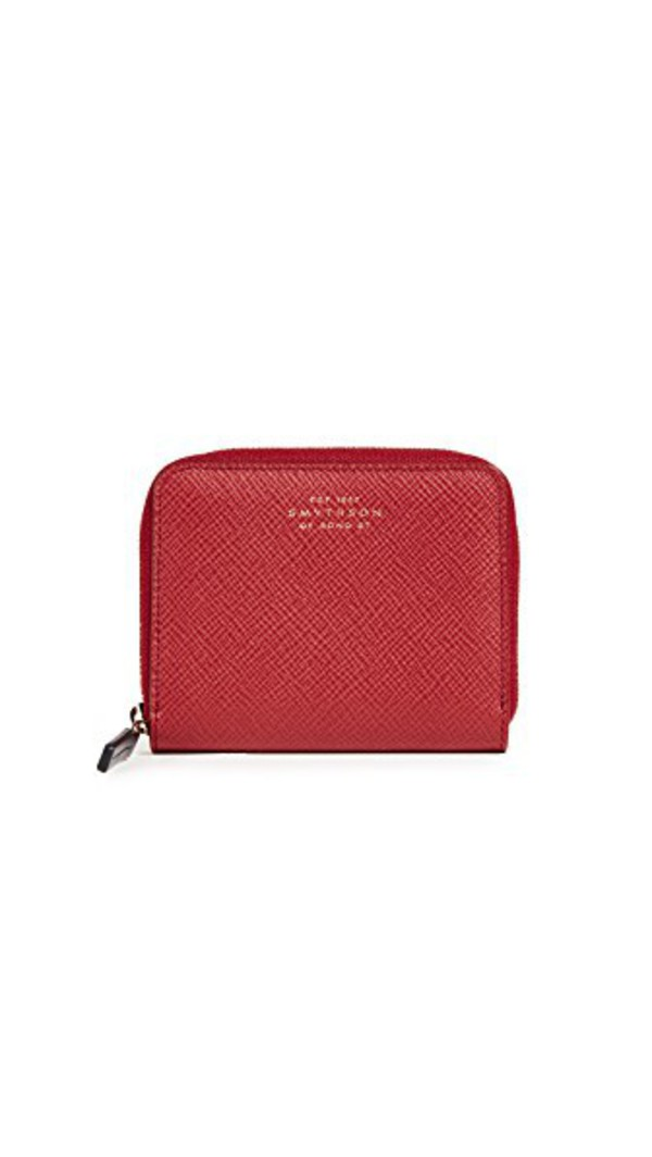 Smythson Panama Zip Coin Purse in red