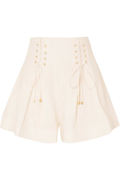 Zimmermann shorts pleated lace cream
