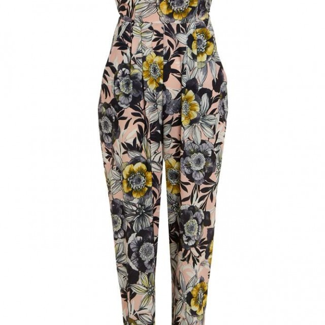 Beautiful Nude Floral Strapless Jumpsuit