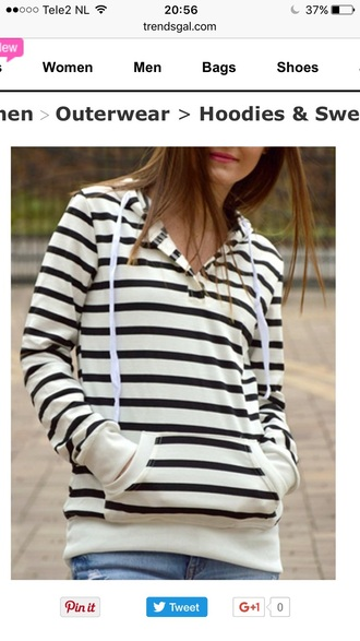 sweater black and white stripes fashion style trendy hoodie fall outfits casual trendsgal.com