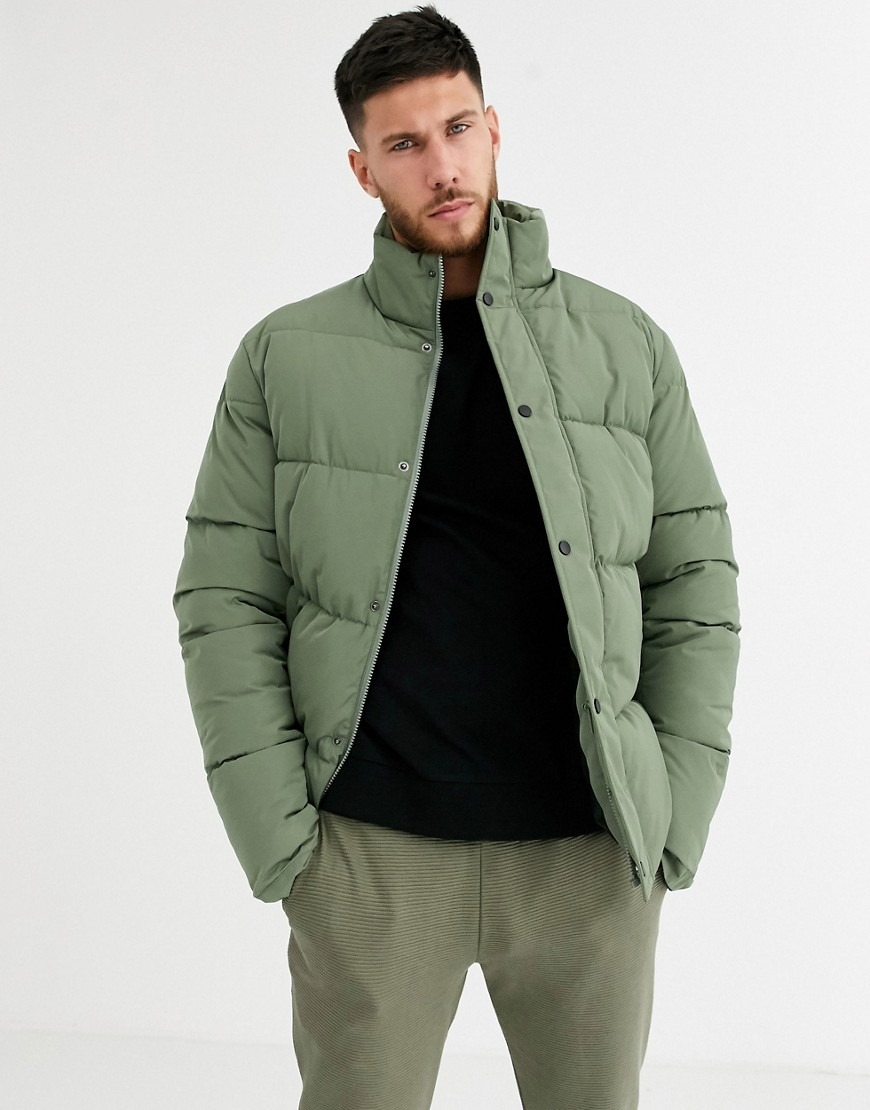 ASOS DESIGN sustainable puffer jacket in green with funnel neck